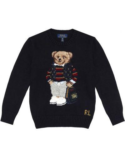 Niebieski bawełna wełniany sweter Polo Ralph Lauren Kids