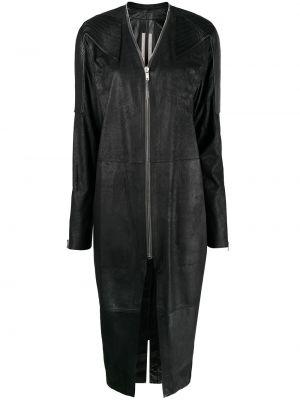 Черное кожаное длинное пальто с манжетами Rick Owens