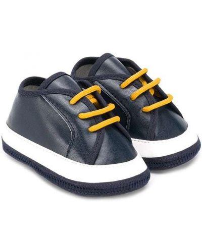 Синие кроссовки на шнуровке на плоской подошве Cesare Paciotti 4us Kids