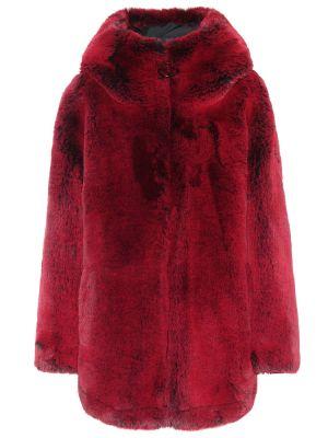 Красное пальто из искусственного меха Goldbergh
