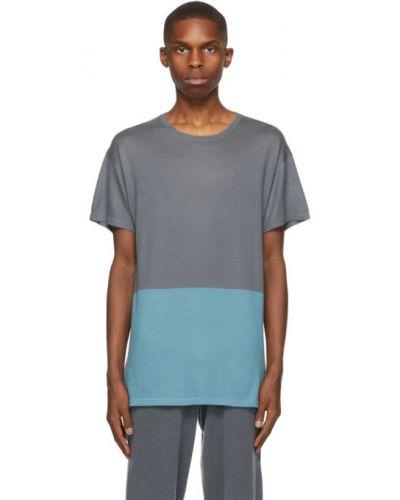 Z kaszmiru niebieski t-shirt krótki rękaw Frenckenberger