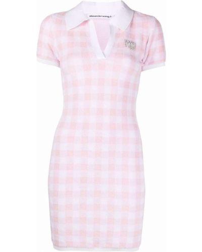 Розовое платье с короткими рукавами с воротником Alexanderwang.t