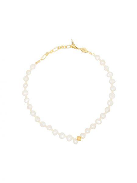 Золотистый желтый браслет с жемчугом позолоченный Anni Lu