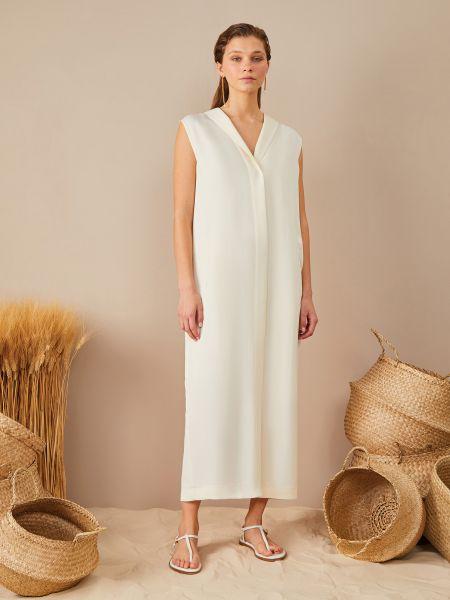 Платье миди без рукавов айвори со шлицей 12storeez