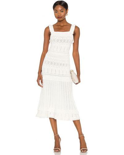 Biała sukienka midi z wiskozy Milly