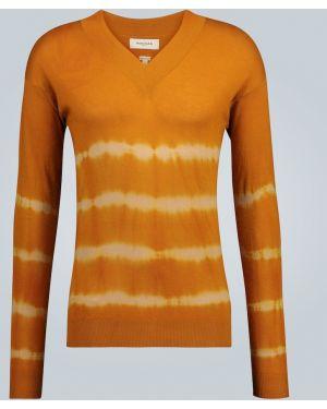Żółty z kaszmiru sweter z dekoltem w serek Rochas