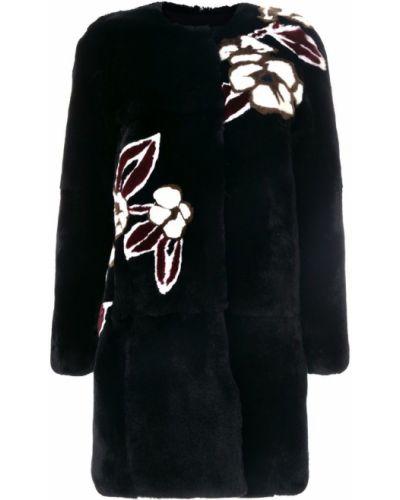 Пальто из кролика с цветочным принтом Yves Salomon