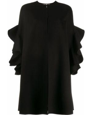 Повседневная кашемировая черная накидка с оборками Valentino