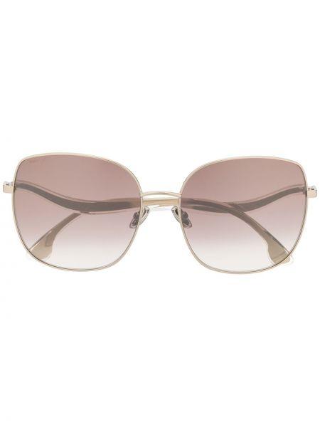 Золотистые желтые солнцезащитные очки металлические оверсайз Jimmy Choo Eyewear