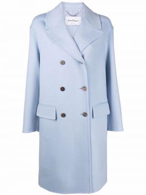 Синее кашемировое пальто Salvatore Ferragamo