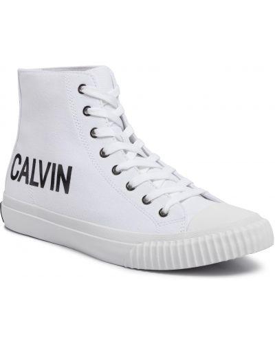 Jeansy jasny kolor biały Calvin Klein Jeans
