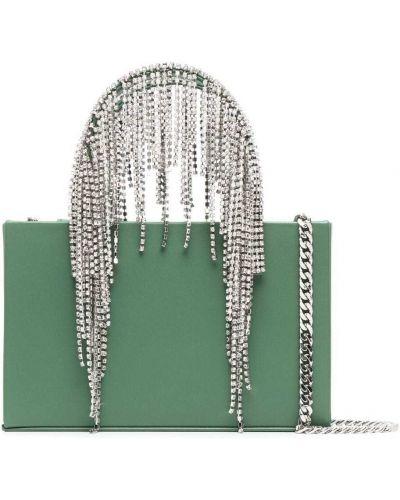 Zielona torebka na łańcuszku skórzana z frędzlami Kara