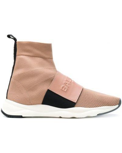 Бежевые кроссовки кожаный Balmain