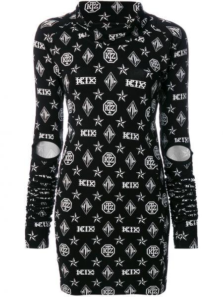 Платье с принтом - черное Ktz