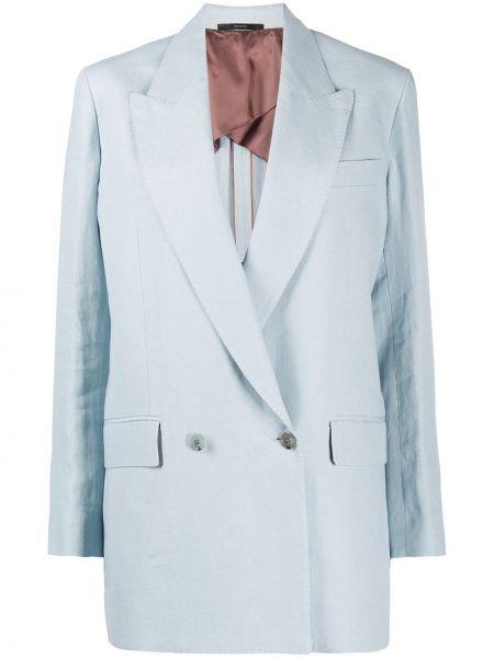 Синий пиджак двубортный с карманами Paul Smith