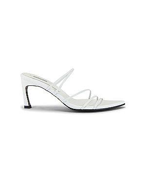 Белые кожаные сандалии на каблуке с завязками Reike Nen