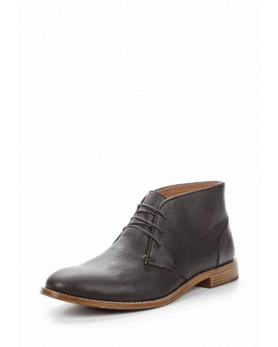 Коричневые кожаные ботинки Topman