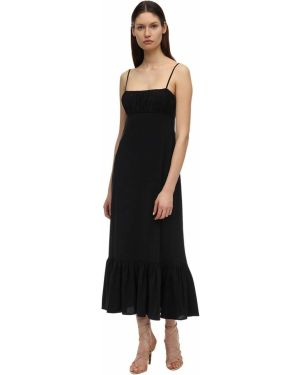 Czarna sukienka długa z wiskozy Lesyanebo