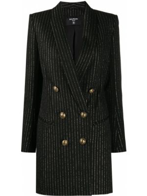 Восточное платье макси на кнопках двубортное с длинными рукавами Balmain