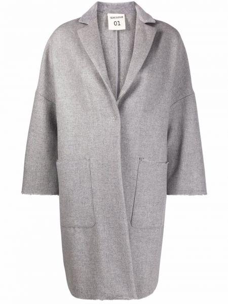 Серое длинное пальто Semicouture