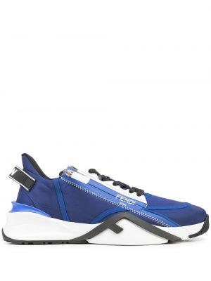 Синие кроссовки с логотипом Fendi