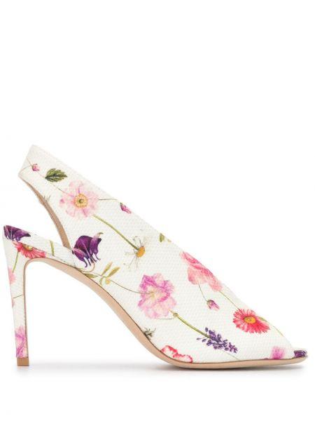 Туфли-лодочки с открытым носком с цветочным принтом Luisa Beccaria