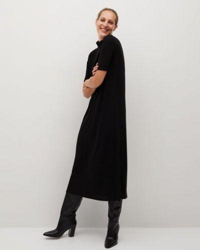 Черное прямое вязаное платье миди с воротником Mango