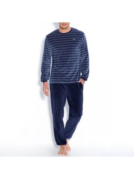 Пижамная темно-синяя пижама с поясом с круглым вырезом La Redoute Collections