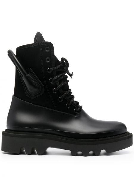Skórzany czarny buty okrągły Givenchy