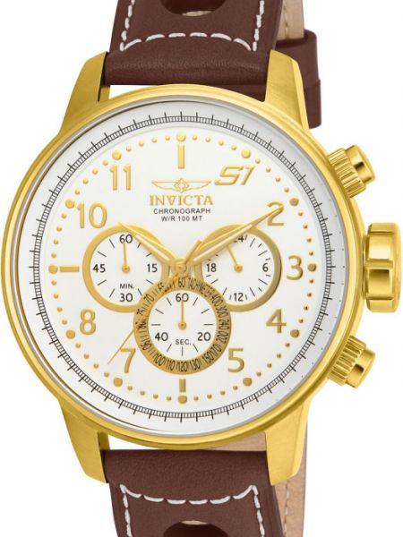 Кожаные спортивные белые часы с кожаным ремешком позолоченные Invicta