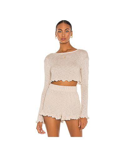Облегченная шелковый свитер с опушкой Majorelle
