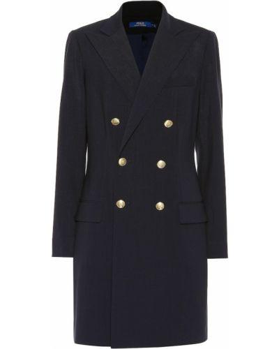 Синее шерстяное пальто Polo Ralph Lauren
