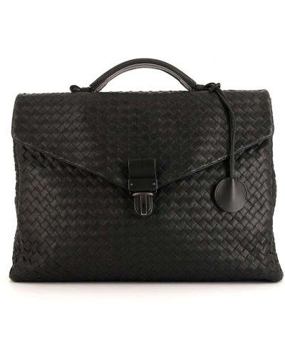 Кожаный черный портфель с карманами на молнии Bottega Veneta Pre-owned