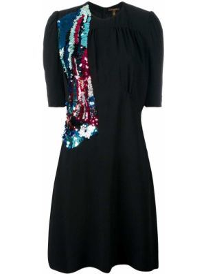 Приталенное платье мини с пайетками винтажное на молнии Louis Vuitton