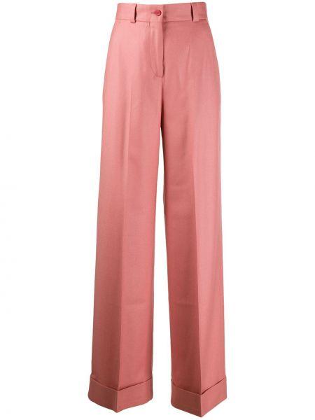 Классические брюки розовый расклешенные Pt01