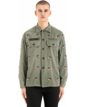 Klasyczna zielona klasyczna koszula z haftem As65