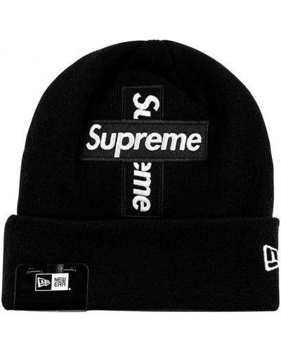 Czarna czapka bawełniana Supreme