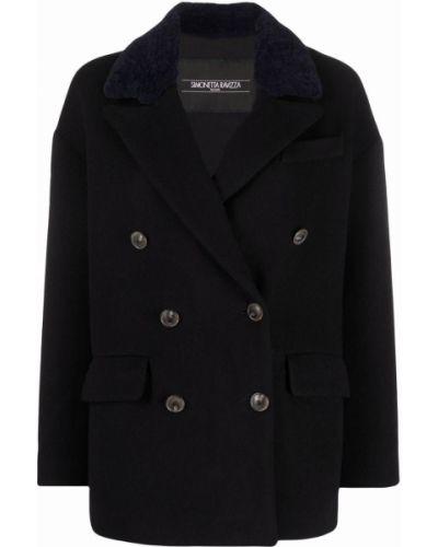Черное пальто двубортное Simonetta Ravizza