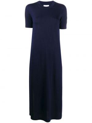 Синее платье с короткими рукавами круглое с круглым вырезом Barrie