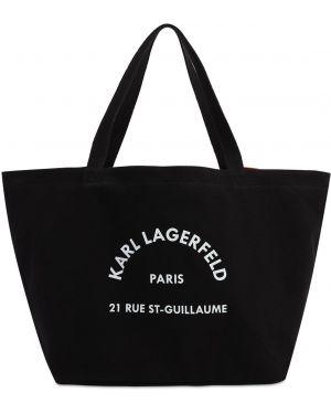 Сумка-тоут с леопардовым принтом из канваса Karl Lagerfeld