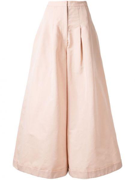 Розовые плиссированные свободные брюки с карманами Paskal