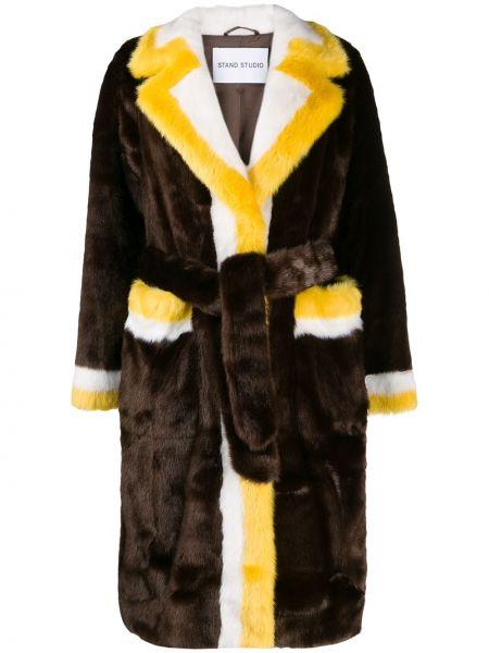 Желтое пальто с поясом Stand