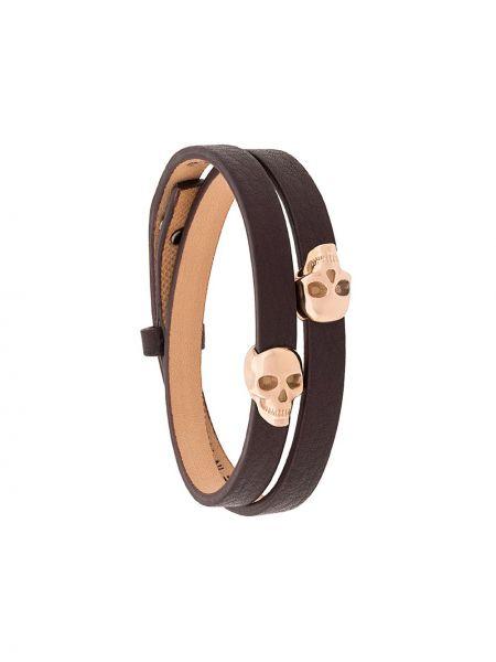 Кожаный черный браслет с черепами Northskull