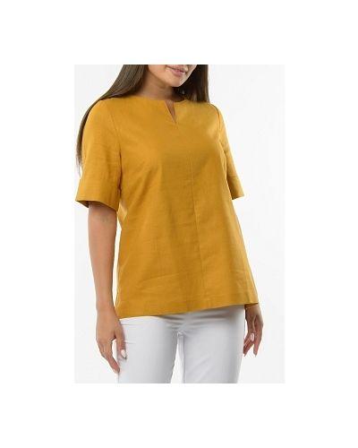 Прямая желтая блузка из вискозы каляев