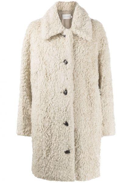 Бежевое пальто классическое с воротником с подкладкой Low Classic