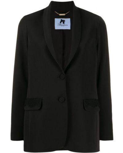 Однобортный черный классический пиджак с карманами Blumarine