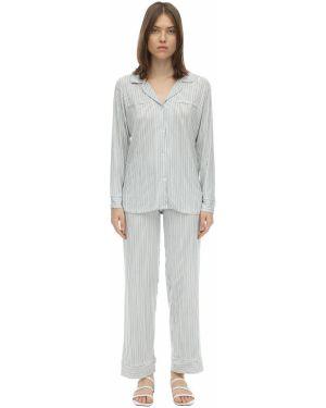 Пижама в полоску с карманами Eberjey