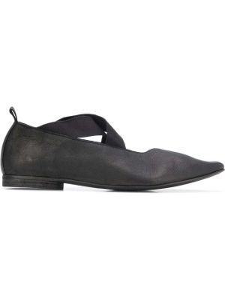 Черные балетки на каблуке эластичные Uma Wang