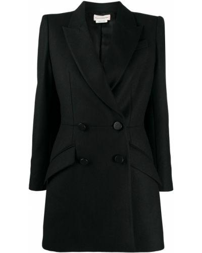 Шерстяной черный удлиненный пиджак двубортный Alexander Mcqueen