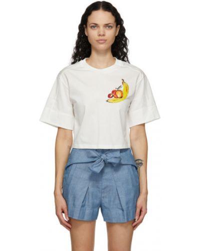 Хлопковая белая рубашка с воротником с пайетками 3.1 Phillip Lim